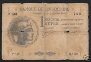 French India 1 Rupee P-4 1945 Helmet Rare Indian Money Bill Asia Bank Note