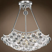 4 And 6 Corner Design 8 Light 18 Chrome Chandelier With Clear Asfour Crystals