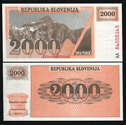 Slovenia 2000 2000 Tolarjev P9a 1990 Euro Unissued Unc Rare Aa Currency Note