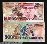 Brazil 500 On 500000 Cruzeiros P239 1993 X 10 Pcs Lot Indian Ovpt. Unc Tone Note