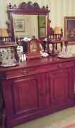 Very Fine Mahogany Buffet W Carved Detailing And Cut Glass Mirrors 1900-1910.