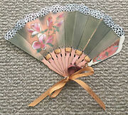 Bovano Of Cheshire Handcrafted Flower Copper Hand Fan Sharron Kree With Lace