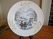 Belleek 4th Edt In The Holiday Scenes In Ireland Series Ice Skaters Plate 1994