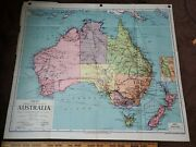 Vintage 1954 Denoyer-geppert Social Science Thematic Map Australasia Political
