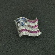 Barry Kronen 18k American Flag Brooch With Diamonds Rubies And Sapphires 17495