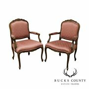 Ethan Allen French Country Louis Xv Style Pair Armchairs