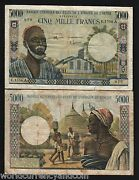 West African States Ivory Coast 5000 5000 Francs P-104 A G 1977 Rare Money Note