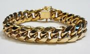 Menand039s Hollow Curb Link Bracelet 10k Yellow Gold 13 Mm Thick 8 1/2 38.00 Grams