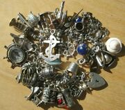 Vintage English Sterling Silver Loaded Pirates Of The Caribbean Charm Bracelet