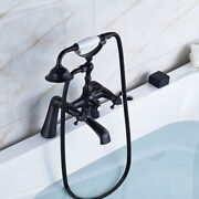 Oil Rubbed Bronze Bathroom Tub Faucet W/ Hand Shower Sprayer Clawfoot Mixer Tap