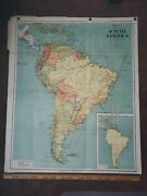 Vintage 1954 Denoyer-geppert Social Science Thematic Map South America