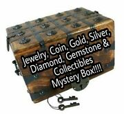 Gold Silver Jewelry Coins Diamonds Gemstones And Collectibles Box.