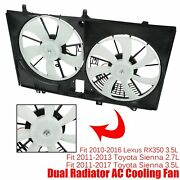 Cooling Fan Dual Radiator Condenser For 2011-17 Toyota Sienna 10-16 Lexus Rx350