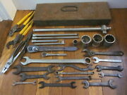 Vtg Jh Williams Div Snap On Wrench Ratchet T Handle Socket Pliers Tool Box Lot
