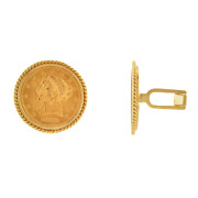 22k Yellow Gold 1880 Us 5 Coins Set In 14k Yellow Gold Cuff Links