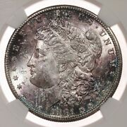 1881-s Morgan 1 Ngc Certified Ms64 Toned Obverse Us Mint Silver Dollar Coin