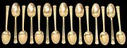 And Co San Lorenzo 12 Sterling Silver 4 1/2 Gold Wash Demitasse Spoons