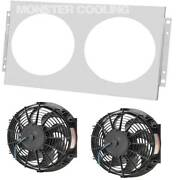Ford F-150 Truck Aluminum Radiator Fan Shroud And 2-12 Electric Fans W Relay 1451