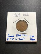 """1909 Vdb Lincoln Wheat Cent Penny Error - Grease Filled Die """"s"""" In Trust - 039"""
