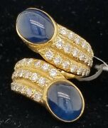 Vintage 18k Yellow Gold Ring 5.50ct. Natural Gem Blue Sapphire Cabochon