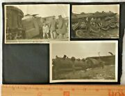 Vintage Train Railroad Wreck Photo Mounted Lot 3 + Antique Car Wreckage Real Pic