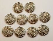 Antique Vintage Set Of 10 Silver Tone Rhinestone Buttons Jewelry Pendants 1730