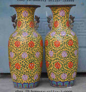 23old Chinese Noble Pure Bronze Cloisonne Flower Statue Zun Cup Bottle Pot Vase