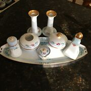 100 Yr Old 13 Piece Signed Dresser Set In Perfect Condition Tray, Powder Jar,