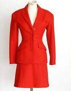 Azzedine Alaia Suit Striking Lipstick Red Vintage 38 Fits 4 To 6