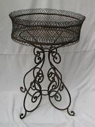 Antique French Iron Round Plant Stand With Wire Basket Top
