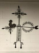"""Antique Iron And Sheet Metal Rooster Directional Weather Vane 42"""" X 38"""" X 1"""""""