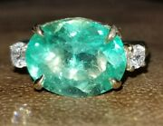 Vintage 14k Yellow Gold Ring 3.52ct. Natural Green Emerald Oval Shape