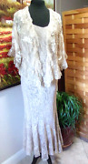Spencer Alexis Dress And Jacket 2pc Lace Crochet Cream Small Made In Usa