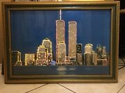 Twin Towers Ny Art Wood Frame With Changing Lights Hand Made Collectables