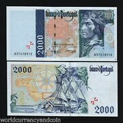 Portugal 2000 Escudos P189 1997 Euro Sailing Ship Unc Currency Money Bill Note