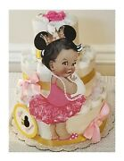 Pink And Gold Little Princess Ballerina Mouse Ears Baby Shower Diaper Cake