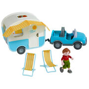Haba Little Friends Vacation Camper Play Set With All Terrain Push And Go Vehicle