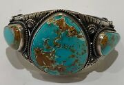 New Mexico Navajo Toledo With Hidden Valley Turquoise And Sterling Silver Cuff