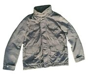 Mens Military Jacket Large L Gray W Quilted Interior Hood Pockets