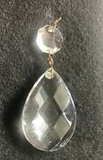 Large Vintage Teardrop Clear Chandelier Crystal Prisms W/attached Small Prism