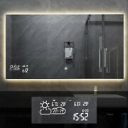 Smart Vanity Bathroom Wall Mirror With Led Light Weather Demist Touch Switch