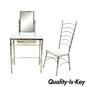 Hollywood Regency Faux Bamboo Metal Vanity Chair And Small Vanity Table + Mirror