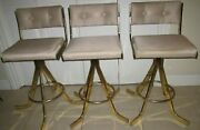 Milo Baughman Style Polished Brass Barstools Mid Century Gold 1970s Set Of 3