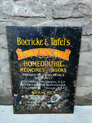 Vintage Old Boericke And Tafel's Homoeopathic Medicine Tin Sign Board 1930s U.s.a