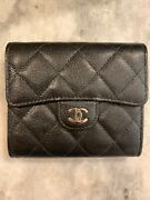 18c Black Caviar Trifold Wallet Glitter Black Silver Hardware Sold Out