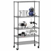 60and034x30and034x14and034 Heavy Duty 5 Tier Layer Wire Shelving Rack Adjustable