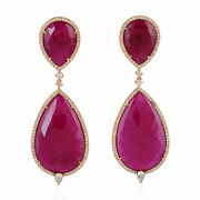 Ruby Dangle Earrings And Pave Diamond With Solid 18k Rose Gold Women's Jewelry