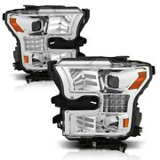 Anzo Proj Headlights Chrome W/ Amber Sequential Turn Signal For 15-17 Ford F-150