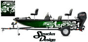 Graphic Abstract Fishing Bass Boat Wrap Skeletons Fish Pontoon Decal Vinyl Green