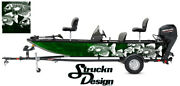 Graphic Abstract Fishing Bass Boat Skeletons Fish Pontoon Decal Vinyl Green Wrap